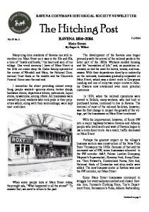 RAVENA COEYMANS HISTORICAL SOCIETY NEWSLETTER