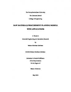 RAW MATERIALS PROCUREMENT PLANNING MODELS WITH APPLICATIONS