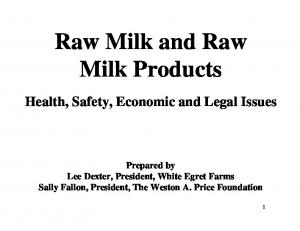 Raw Milk and Raw Milk Products