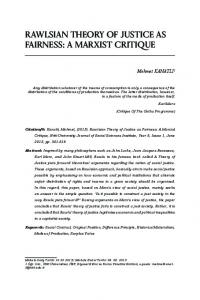RAWLSIAN THEORY OF JUSTICE AS FAIRNESS: A MARXIST CRITIQUE