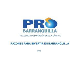 RAZONES PARA INVERTIR EN BARRANQUILLA