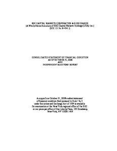 RBC CAPITAL MARKETS CORPORATION & SUBSIDIARIES (A Wholly-Owned Subsidiary of RBC Capital Markets Holdings (USA) Inc.) (SEC I.D. No