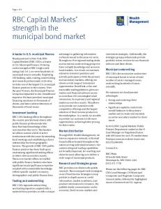 RBC Capital Markets strength in the municipal bond market