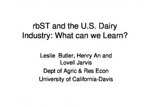 rbst and the U.S. Dairy Industry: What can we Learn?