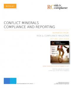 RC & CONFLICT MINERALS COMPLIANCE AND REPORTING. risk compliance RISK & COMPLIANCE MAGAZINE. risk & compliance REPRINTED FROM: OCT-DEC 2015 ISSUE