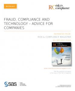 RC & FRAUD, COMPLIANCE AND TECHNOLOGY ADVICE FOR COMPANIES. risk compliance RISK & COMPLIANCE MAGAZINE. risk & compliance REPRINTED FROM: