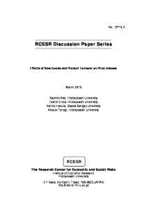 RCESR Discussion Paper Series