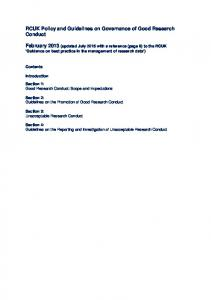 RCUK Policy and Guidelines on Governance of Good Research Conduct