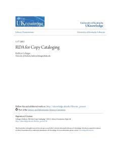 RDA for Copy Cataloging