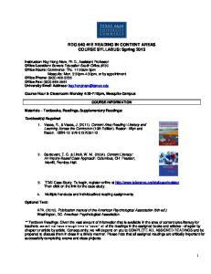RDG E READING IN CONTENT AREAS COURSE SYLLABUS: Spring 2013