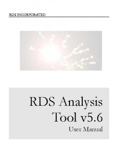 RDS INCORPORATED. RDS Analysis Tool v5.6. User Manual