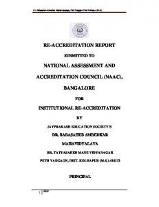 RE-ACCREDITATION REPORT NATIONAL ASSESSMENT AND ACCREDITATION COUNCIL (NAAC), BANGALORE