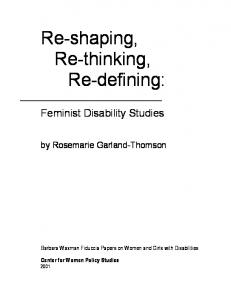 Re-shaping, Re-thinking, Re-defining: