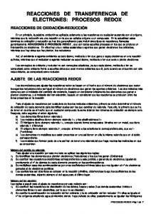 REACCIONES DE TRANSFERENCIA DE ELECTRONES: PROCESOS REDOX