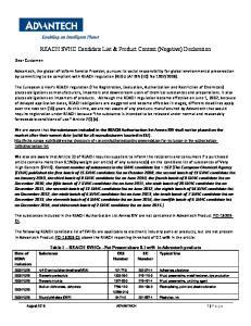 REACH SVHC Candidate List & Product Content (Negative) Declaration