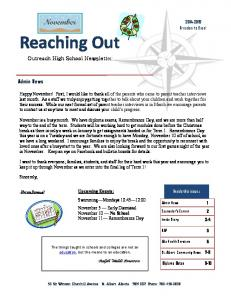 Reaching Out Outreach High School Newsletter
