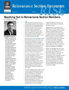 Reaching Out to Reinsurance Section Members