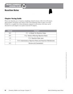 Reaction Rates. Chapter Pacing Guide BLOCK SCHEDULE LESSON PLAN 17
