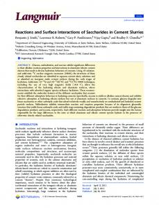 Reactions and Surface Interactions of Saccharides in Cement Slurries