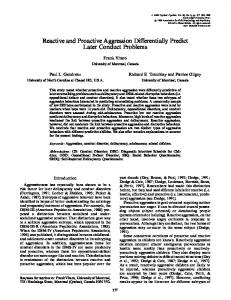 Reactive and Proactive Aggression Differentially Predict Later Conduct Problems