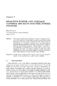 REACTIVE POWER AND VOLTAGE CONTROL ISSUES IN ELECTRIC POWER SYSTEMS