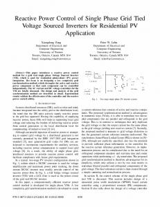 Reactive Power Control of Single Phase Grid Tied Voltage Sourced Inverters for Residential PV Application