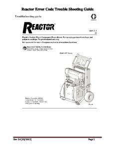 Reactor Error Code Trouble Shooting Guide