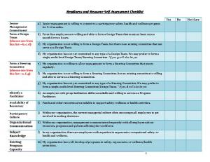 Readiness and Resource Self-Assessment Checklist