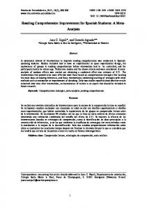 Reading Comprehension Improvement for Spanish Students: A Meta- Analysis