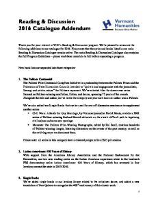 Reading & Discussion 2016 Catalogue Addendum