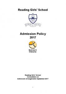 Reading Girls' School. Admission Policy 2017