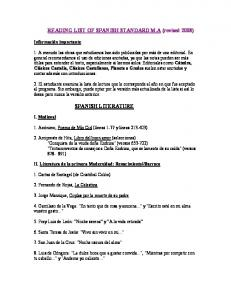 READING LIST OF SPANISH STANDARD M.A (revised 2008) SPANISH LITERATURE