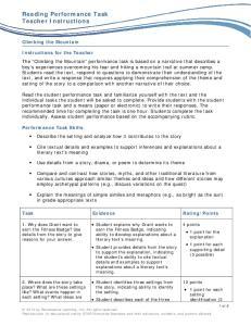 Reading Performance Task Teacher Instructions