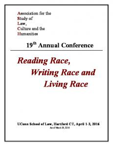 Reading Race, Writing Race and Living Race