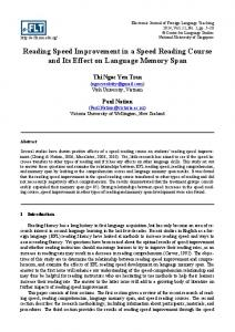 Reading Speed Improvement in a Speed Reading Course and Its Effect on Language Memory Span