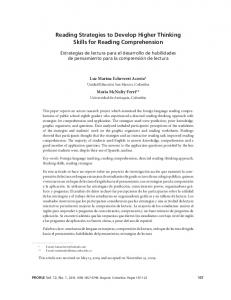 Reading Strategies to Develop Higher Thinking Skills for Reading Comprehension