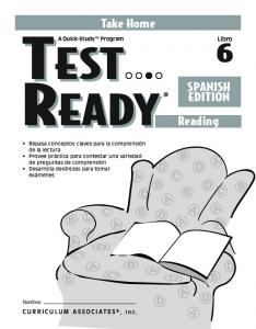READY Reading READY. Take Home SPANISH EDITION. Libro. CURRICULUM ASSOCIATES, Inc. A Quick-Study Program TEST