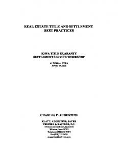 REAL ESTATE TITLE AND SETTLEMENT BEST PRACTICES
