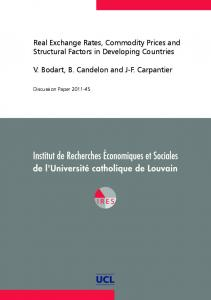 Real Exchange Rates, Commodity Prices and Structural Factors in Developing Countries. V. Bodart, B. Candelon and J-F. Carpantier