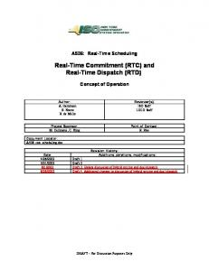 Real-Time Commitment (RTC) and Real-Time Dispatch (RTD)