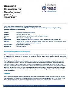 Realising Education for Development