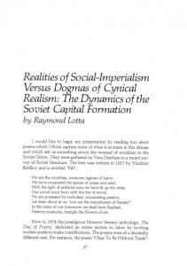 Realities of Social-Imperialism Versus Dogmas of Cynical Realism: The Dynamics of the Soviet Capital Formation