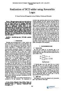 Realization of BCD adder using Reversible Logic
