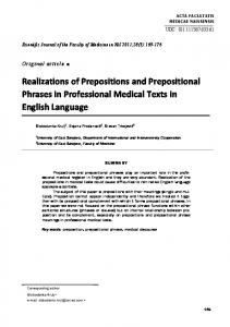 Realizations of Prepositions and Prepositional Phrases in Professional Medical Texts in English Language