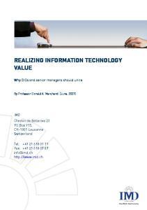 REALIZING INFORMATION TECHNOLOGY VALUE