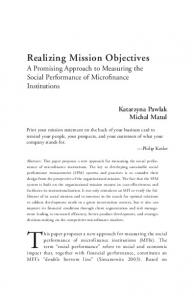 Realizing Mission Objectives A Promising Approach to Measuring the Social Performance of Microfinance Institutions