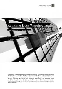 Realtime Data Warehousing
