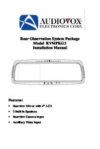 Rear Observation System Package Model RVMPKG3 Installation Manual
