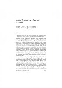 Reason, Freedom and Kant: An Exchange 1