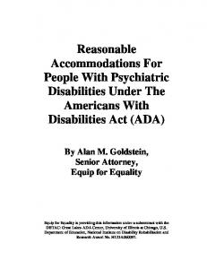 Reasonable Accommodations For People With Psychiatric Disabilities Under The Americans With Disabilities Act (ADA)